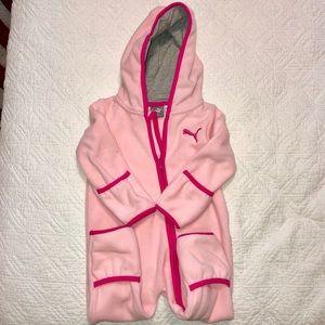 Puma Pink Fleece Zipper Hooded Onesie 6-9M